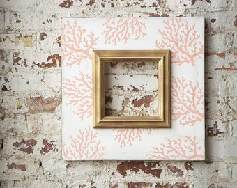 Coral Reef 8x8 Distressed Picture Frame with a Gold Colonial Trim