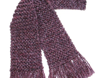 Purple Scarf, 6 ft Long Chunky Knit Scarf, Hand Knit Scarf, Knitted Winter Scarf, Plum Scarf, Violet Scarf