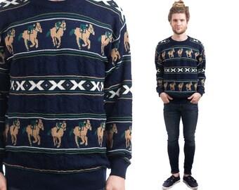 Vintage EQUESTRIAN SWEATER . Mens Jockey Print Preppy Ivy League Navy Blue Pullover 1980s Oversized Boyfriend Sweater . Small Medium Large