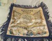 Vintage Niagara Falls satin and fringe souvenir pillow case