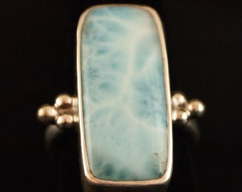 Sterling Silver and Larimar Ring Size 6 3/4