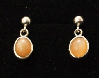 Sterling Silver and Peash Moonstone  Drop Earrings
