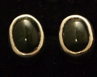 Sterling Silver and Green Jade  Post Earrings
