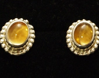 Sterling Silver and Citrine Post Earrings