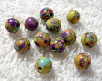 Multi-Colored Synthetic Turquoise Round Beads - (12 Pcs) - (6mm) - B-1429