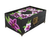 Hand-Painted Orchid Jewelry Box - Stunning Purple and White Phaelenopsis Orchids, Painted Mirror - Hand Painted Bridal Jewellry Keepsake Box