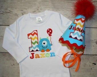 Chevron Little Blue Monster Birthday Shirt or bodysuit and HAT -Rainbow chevron monster birthday outfit- Cake Smash outfit