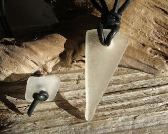 Ice Triangle Beach Glass Necklace