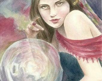 "ORIGINAL ART "" The Seer "" fantasy fairy gothic art by Deanna Bach Art"