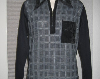 Vintage Mens 50s 60s Pullover Knit Cardigan with Suede Trim