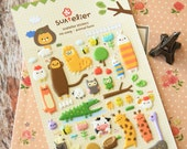 Suatelier ANIMAL FARM Puffy scrapbooking diary stickers