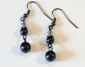 Gunmetal Glass and Crystal Earrings