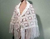 Sale - TRIANGULAR SHAWL/WRAP - Extra Large, Snow White, Gorgeous Crochet Pattern, Top Quality Mountain Goat Wool