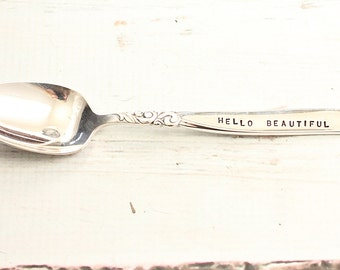 Hello Beautiful, Hello Handsome Stamped Spoon Upcycled Stamped Silverware Silver Plate Coffee Stirrer Spoons with Words