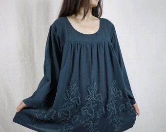 Blossom - Plus Size Bohemian Long Sleeve Azo Free Color Dark Charcoal Light Cotton Blouse With Hand-Embroidered Detail