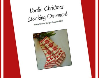 Nordic Christmas Stocking Cross Stitch PDF Pattern