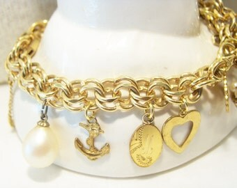 Ballou 70s 80s Vintage 1/20 12k Gold Filled Charm Bracelet with 10k Gold Charm Jewelry