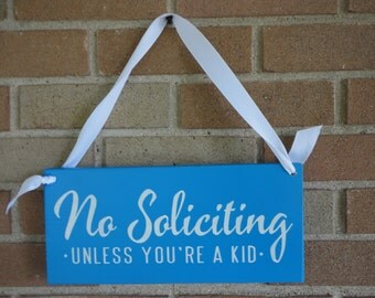 No Soliciting SIGN/Blue/ Hand Painted Wood Sign/Front Door Sign/ Home Decor/Patio/Porch/DAWNSPAINTING/6 X 12