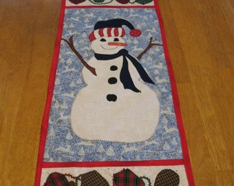 Quilted and Appliqued Snowman Table Runner or Wall Hanging