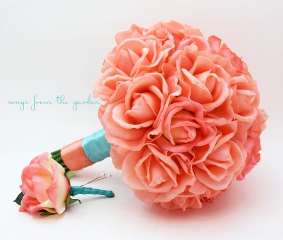 Coral Real Touch Roses Aqua Ribbon Wedding Bouquet Real Touch