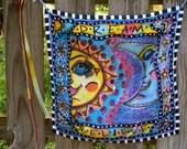 Sun and Moon Peace Garland, Hippie Peace Flag original, Hippie Garland, Hippie Art