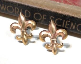 Raw Brass Fleur de Lis Cuff Links - Soldered - France French Wedding Antique Gold Cufflinks Saints Boy Scouts