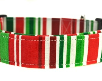 Red and Green Christmas Stripe Dog Collar - The Noel