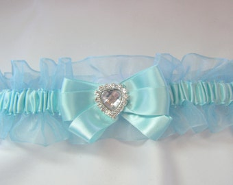 Prom Garter Aqua sheer Wedding garter tossing Garters