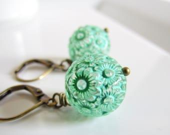 Spring Green Flower Earrings, Carved Flower Beads, Vintage Style, Antiqued Brass, Drop Earrings, Simple Everyday Wear, Light Green Earrings