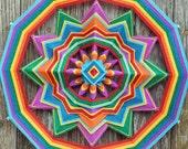 Rainbow Flag, 18 inch, 12-sided yarn mandala, by custom order