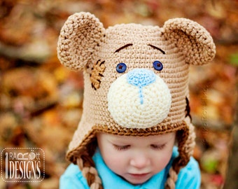 PATTERN Classic Teddy Bear Hat Crochet PDF Pattern with Instant Download
