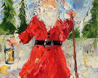 Christmas Fine Art Print from image of oil painting by Karen Tarlton - Holiday Santa Claus