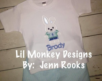 Easter Bunny Boy Outfit- Easter- Boys Outfit- Easter Bunny- Bunny Boy- Monogram