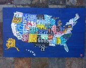 Original United States Map - Adventure Road Trip Hiking Awesome Recycled License Plate Art - Salvaged Wood - Upcycled Artwork