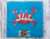 License Plate Artwork Crab Beach House Ocean Nautical Aqua Red Navy Personalized Name Nursery Boy Custom License Plate Art Recycled States