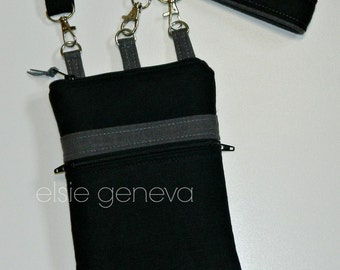 Made to Order Black and Grey LInen Phone Case with Zipper Closure and Wristlet w/Front Zipper Pocket iPhone 5 6 Plus Note