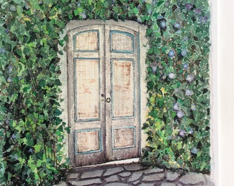 Print of old vintage doors that open to a couryard in Carmel, Ca.