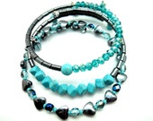 Turquoise and Hematite Beaded Memory Wrap Bracelets, Gift Set Ideas for Sisters Cousins Lovers Friends Coworkers Birthdays Just Because Gift