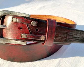 Red Belt, Leather Belt for Women, Custom Belts, Unisex Belt, Men's Leather Accessories, Buckle Belt, Unique Design, Red Leather, Woman Belt