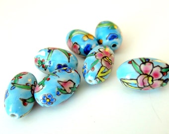 Ceramic Blue Egg Shaped Beads, Hand Painted Beads