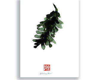 Pine Cone 3 -Zen Art greeting card, thank you card, sympathy card, sumi ink Zen Painting Haiku carrd, blank greeting card, all occasion card