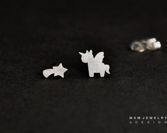 Sterling Silver Unicorn (Pegasus) and Shooting Star Stud Earrings