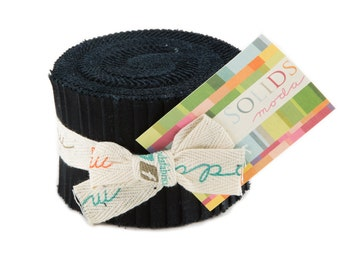 SOLID BLACK Junior Jelly Roll - Moda Bella Solids Black - 2.5 inch Strips - Fabric Strips - Jelly Roll - Moda 9900 99
