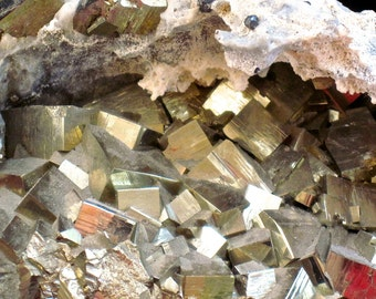 Iron Pyrite Cluster. Large Cube Iron Pyrite Cluster