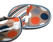 Dot.com Oven Mitt Pot Holder Set.  Art Deco Oval Potholders.  Favorite Oven Mitt Pair Multi-Colored Dots & Stripes Hot Pot Mitts.