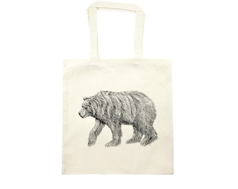 California Bear Tote Bag - Cotton Tote Bag with Eco Friendly Ink - Bags and Totes - Grizzly Bear Print Tote Bag- Housewares