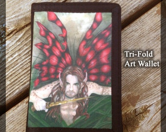 Crimson Wings Faerie Warrior Dude Black TriFold Wallet