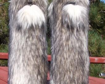 Dynamite Faux Fur Leg Muffs with Poms