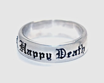 Mourning ring A Good LIfe and A Happy Death memento mori jewelry made in NYC