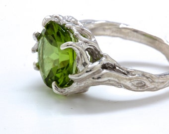 Sterling silver peridot tree ring green in the branches  NYC Blue Bayer Design